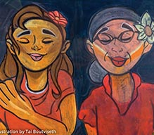 painting of two women smiling with their eyes closed