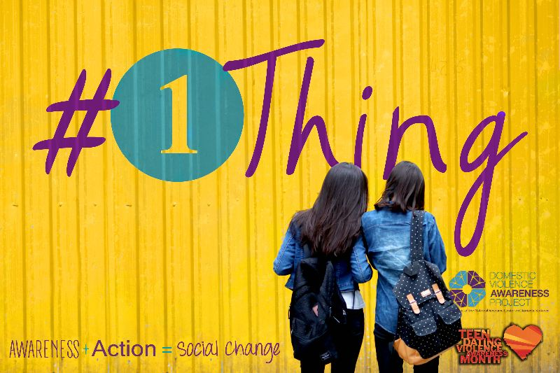 #1thing campaign image with two girls together, facing away