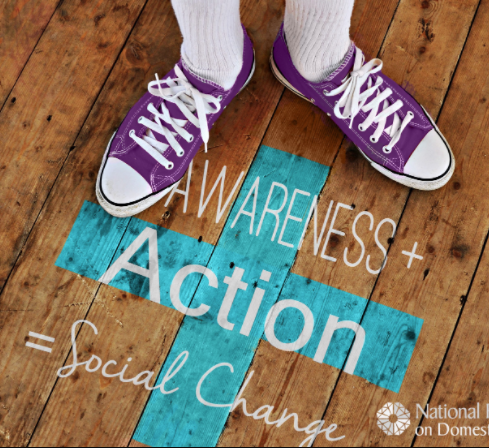 Awareness + Action = Social Change imagery on floor with purple sneakers