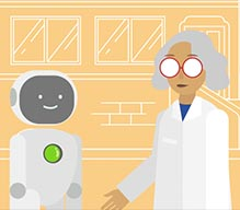 cartoon of scientist standing next to a robot