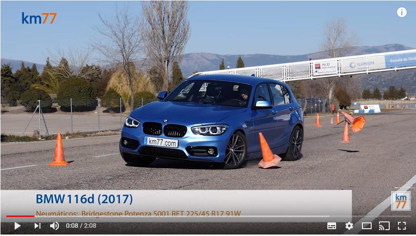 BMW 116d 2017 - Maniobra de esquiva (moose test) y eslalon