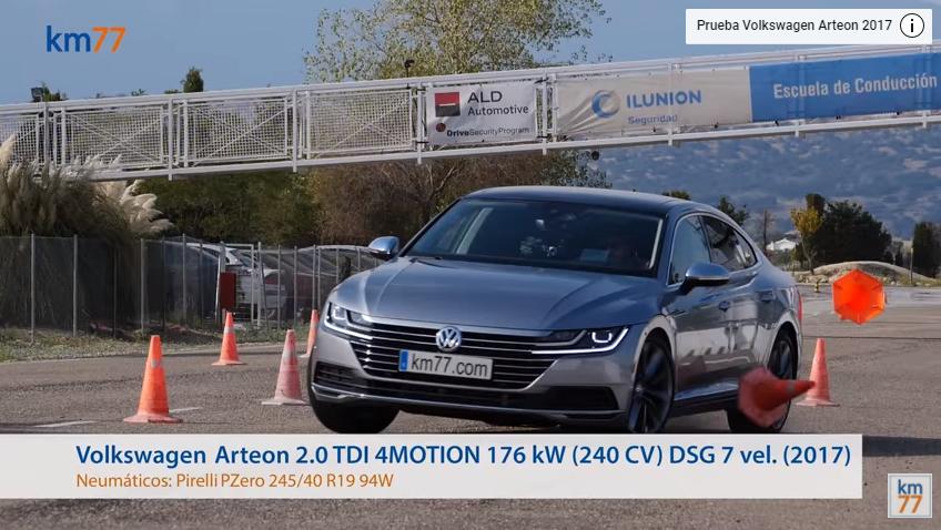 Volkswagen Arteon 2017 - Maniobra de esquiva (moose test) y eslalon