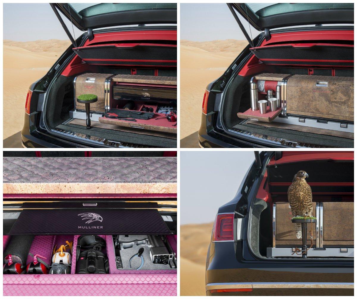 Bentley ofrece preparaciones tan curiosas como esta: un Bentayga con el maletero repleto de accesorios para la práctica de la cetrería.