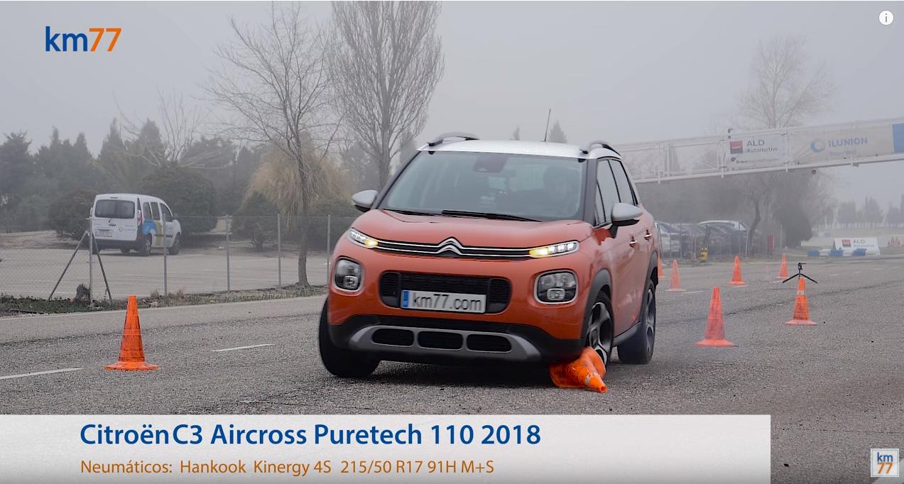 Citroen C3 Aircross 2018 - Maniobra de esquiva (moose test) y eslalon.