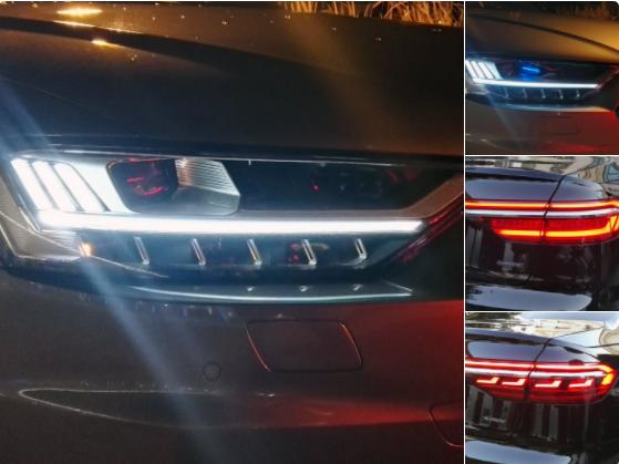 Visto en un Audi A8 2018: Faros HD Matrix LED sin y con iluminación láser (estas últimas se distinguen por la pieza de color azul). Pilotos LED y OLED (los últimos son los que tienen esos pequeños cuatro segmentos con forma de L).