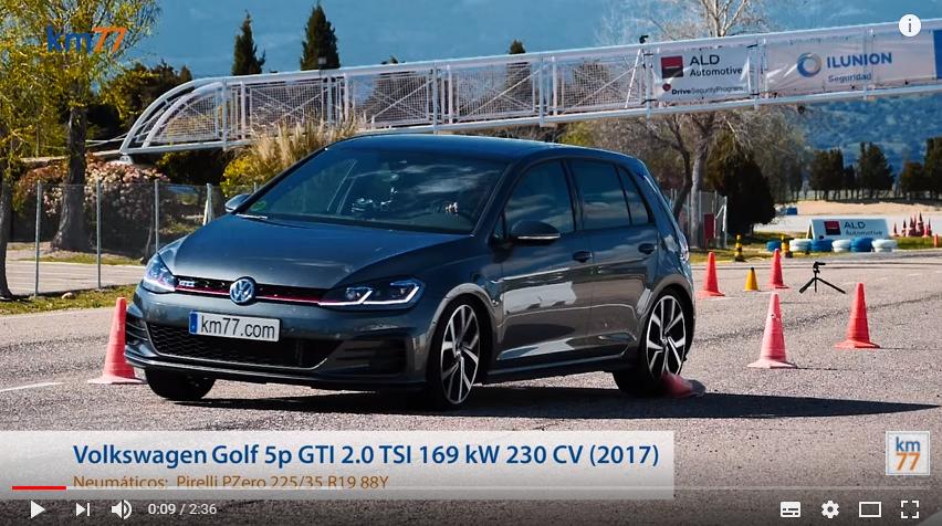 Volkswagen Golf GTI 2017 - Maniobra de esquiva (moose test) y eslalon