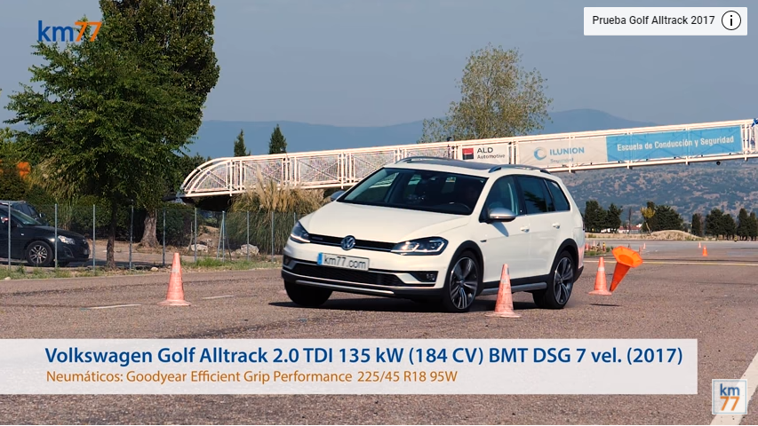 Volkswagen Golf Alltrack 2017 - Maniobra de esquiva (moose test) y eslalon