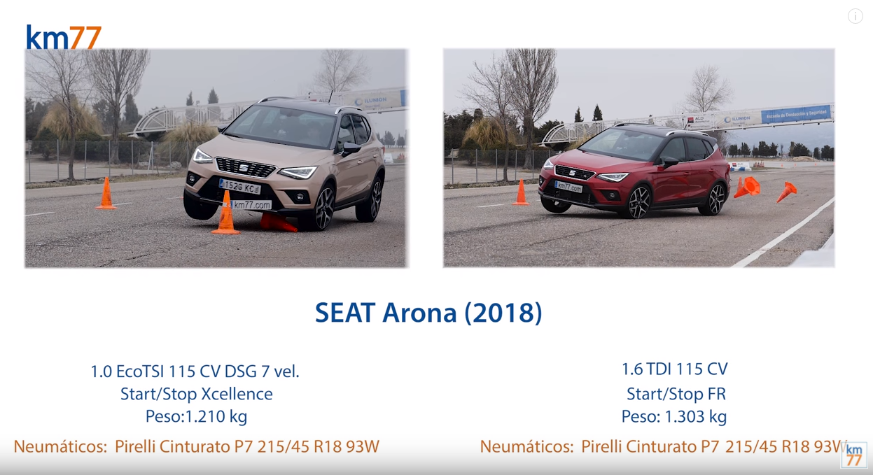SEAT Arona 2018 - Maniobra de esquiva (moose test) y eslalon.