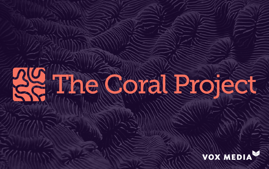 The Coral Project logo on a dark background with the Vox Media logo in the corner