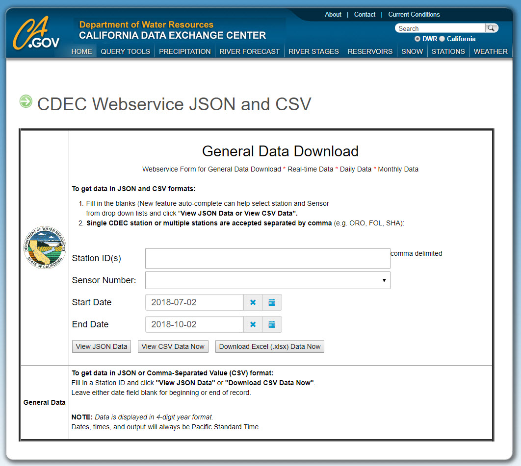 screen shot of the California Data Exchange CDEC webservice form for general data download