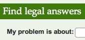 Screen shot of Find Legal Answers search box from the VLA website