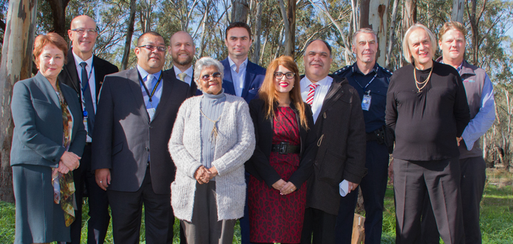 L-R: MP Suzanna Sheed; Superintendent Michael Sayer, Victoria Police;  Rumbalara CEO Kemal (Kim) Sedick; ARC Justice Executive Officer Peter Noble (back); Rumbalara board member and Elder, Aunty June Murray, Victoria Legal Aid Executive Director, Civil Justice, Access and Equity, Dan Nicholson; Goulburn Valley Community Legal Centre (GVCLC) Therapeutic Justice lawyer Sejal Amin; Inspector Dan Trimble; GVCLC Managing Lawyer, Kaz Gurney; Primary Care Connect Therapeutic Justice case manager David Johns.
