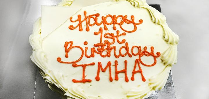 IMHA one-year anniversary birthday cake