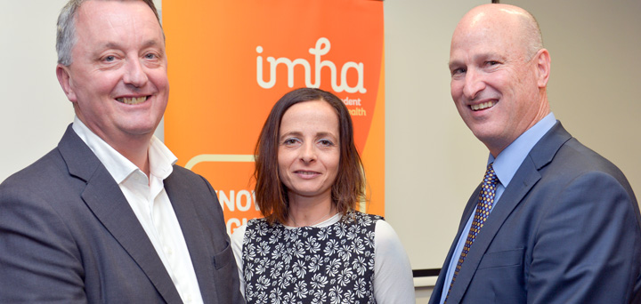 Minister for Mental Health, the Hon Martin Foley, IMHA Manager Helen Makregiorgos, Victoria Legal Aid Managing Director Bevan Warner