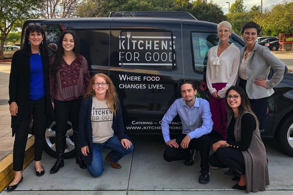 Left to right: Professor Karen Henken, Kroc School; Geraldine Zamorra and Katrina Meredith, Kitchens for Good; MASI students Sebastien Orebi, Julia Stewart, Nisreen Al Sabie, Patricia Cosulich, Kroc School.