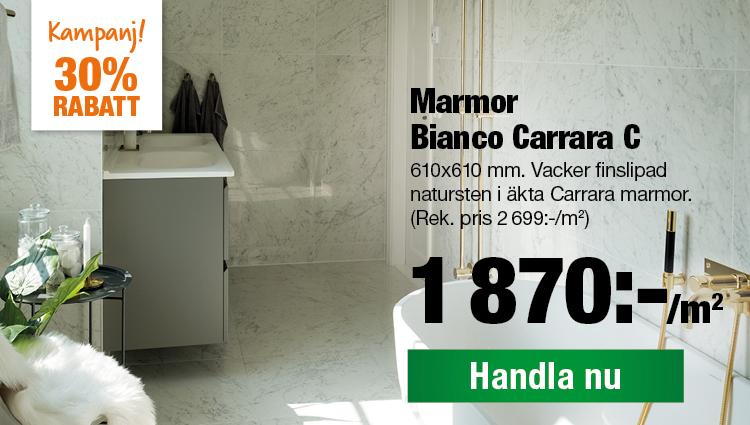 Marmor Bianco Carrara Nu 1870:-/m2 Rek. pris 2699:-/m2