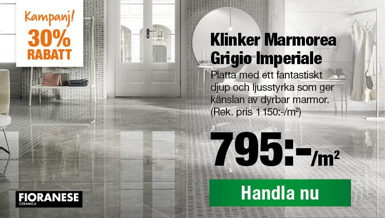 Klinker Marmorea Grigio Nu 795:-/m2 Rek. pris 1150:-/m2