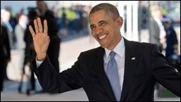 US President Barack Obama waves as he arrives at the 2014 Nuclear Security Summit on March 24, 2014 in The Hague, Netherlands. The Nuclear Security Summit, held March 24-25, will be attended by world leaders and is aimed at preventing nuclear terrorism. (Photo by Marco de Swart - Pool/Getty Images)