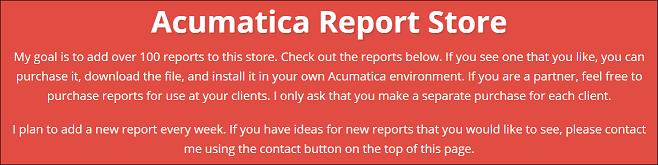Acumatica Report Store