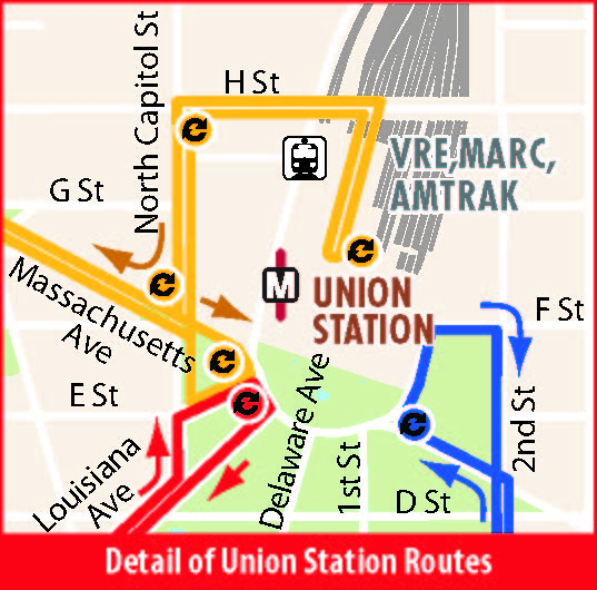 Detail of Union Station Stops
