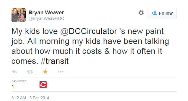 """""""My kids love @DCCirculator's new paint job. All morning my kids have been talking about how much it costs and how often it comes. #transit."""" From Bryan Weaver"""