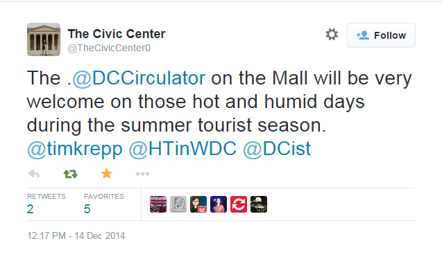 """The .@DCCirculator on the Mall will be very welcome on those hot and humid days during the summer tourist season"""" - The Civic Center"""