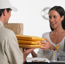 Shipping clerk with customer