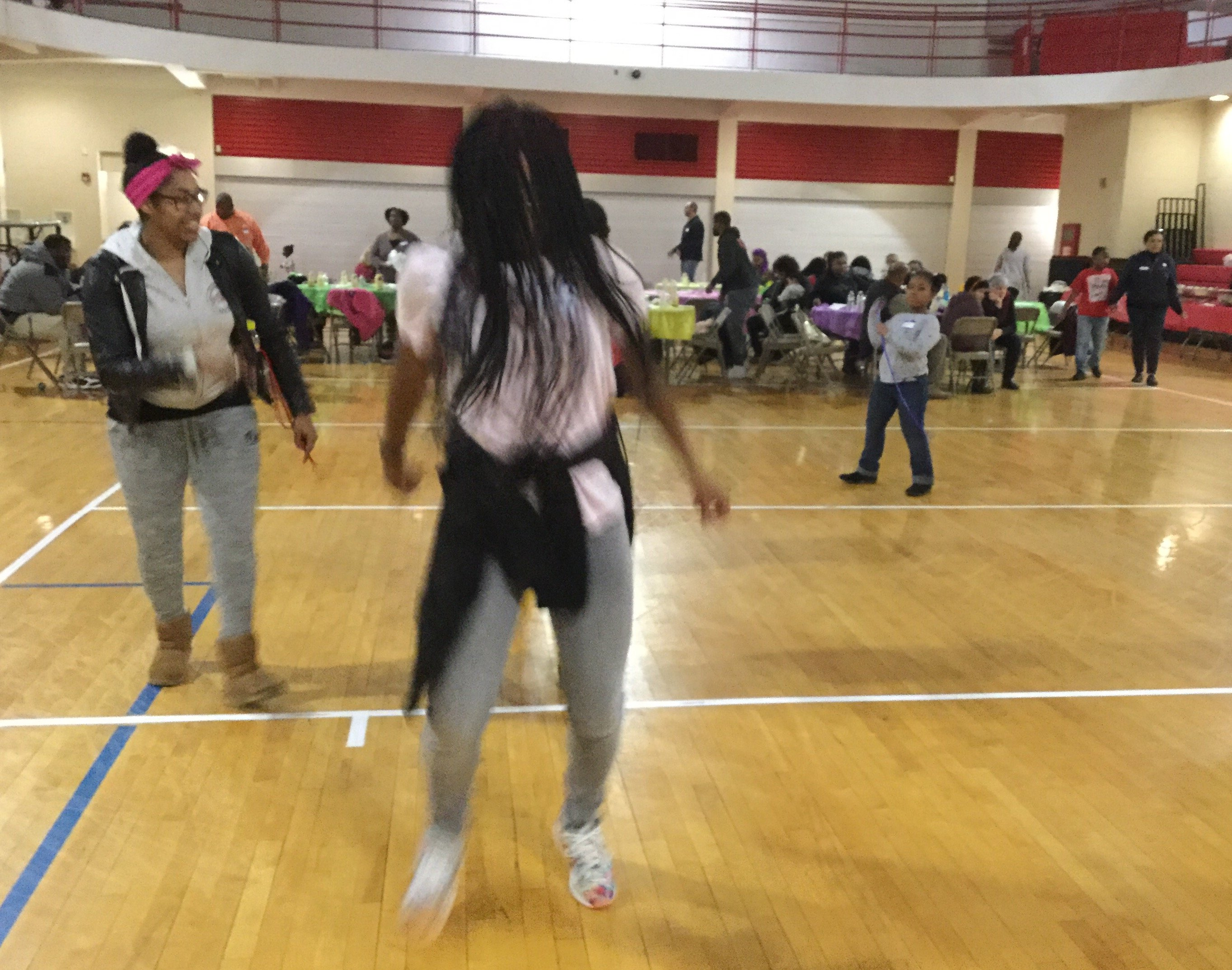 "Students and families ""get funky"" at the first Funky Friday Family Game night, in January 2018."