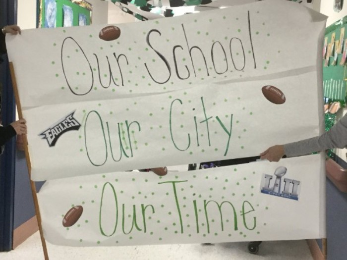 The City of Brotherly Love Our School Our City Our Time poster created by the students in elementary