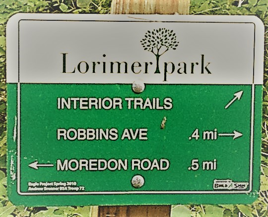 A trails sign for Lorimer Park in Montgomery, County, just north of the Philly border.