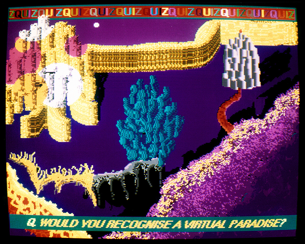 Suzanne Treister, Fictional Videogame Still/Q. Would you recognize a Virtual Paradise?, 1992, photograph (from original work on screen of original Amiga computer), Courtesy of the artist, P.P.O.W., New York and Annely Juda Fine Art, London