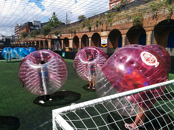 Rage playing zorb football
