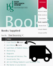 Image: Click the Delivery Truck Icon to Check the Status of your Book Parcel