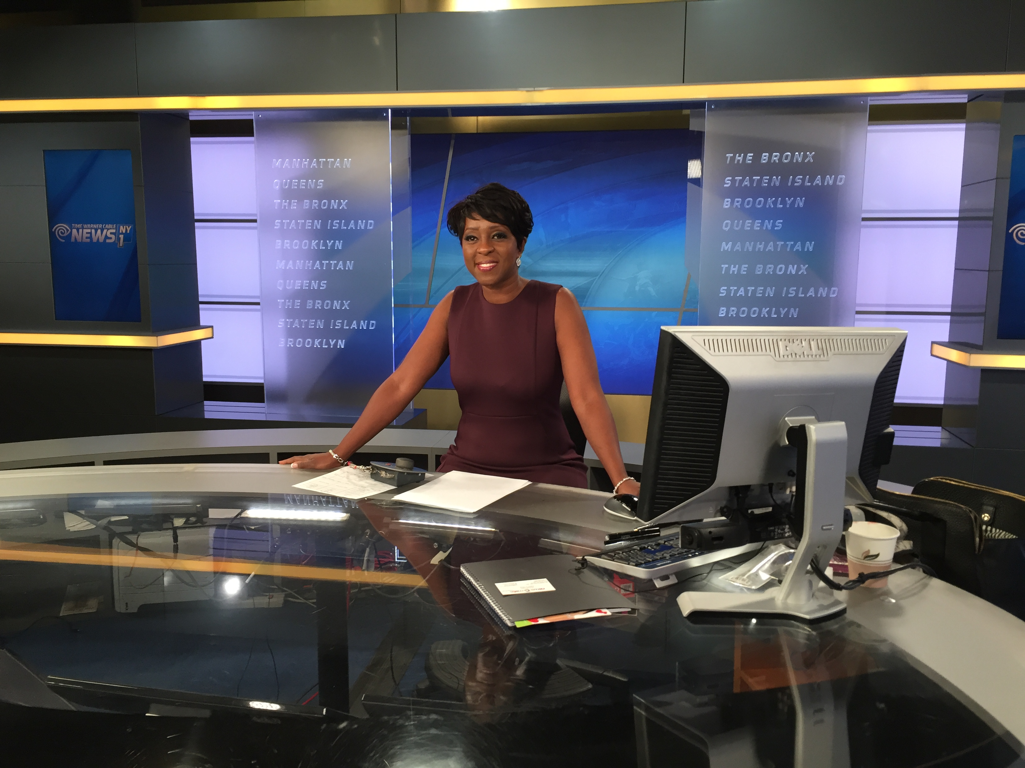 Cheryl Wills at her desk on NY1