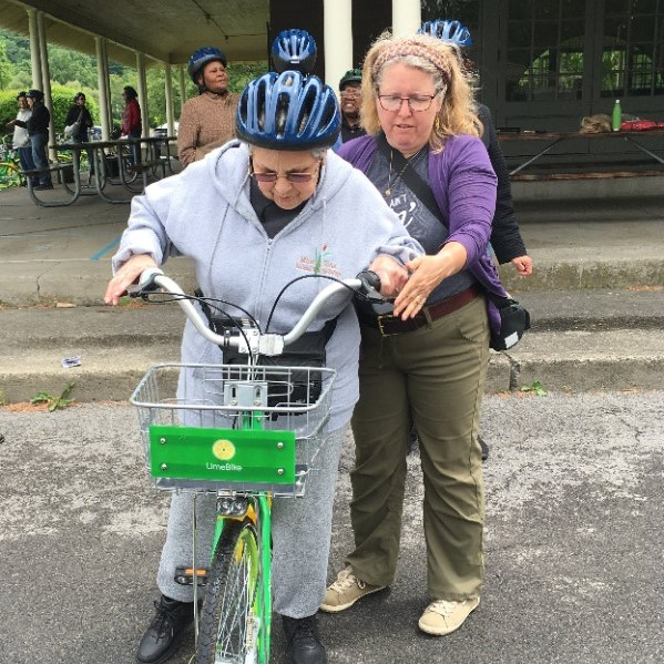 Learning how to ride on a LimeBike