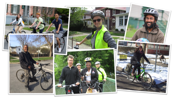 Collage of photos of people of all stripes biking