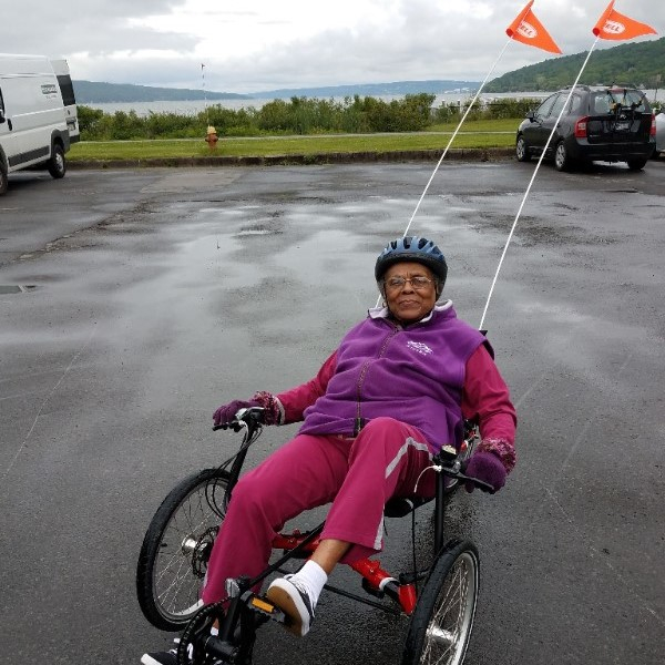 Testing out Barbara's tricycle