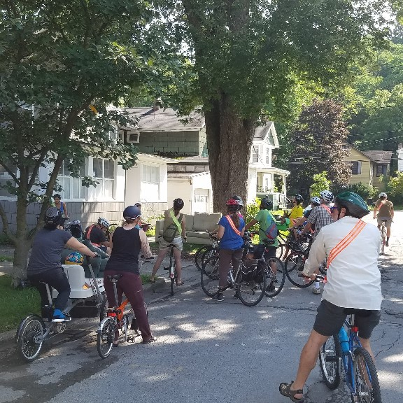 City Tree Bike Tour organized by Ithaca Bike Champion Gretchen and the City Forester.