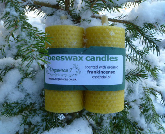 Natural Beeswax Candles scented with Organic Essential Oils