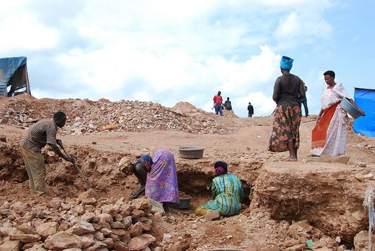 Women in Uganda working in the Gold Mines