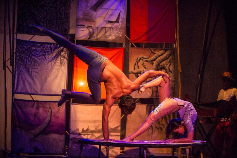 Two artists performing in a Circus in Cambodia