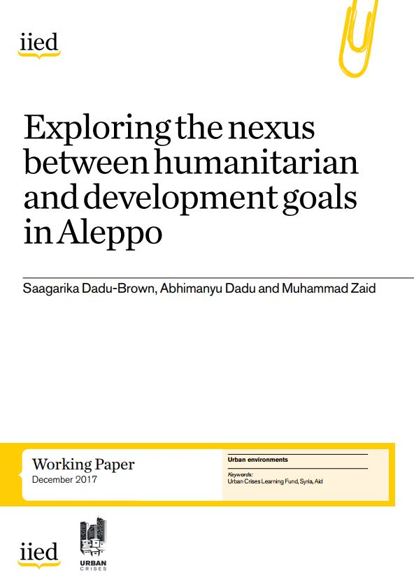 Exploring the nexus between humanitarian and development goals in Aleppo