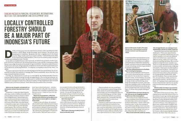 The locally controlled forestry project was covered by Indonesian magazine, Tempo (Photo: Tempo magazine)