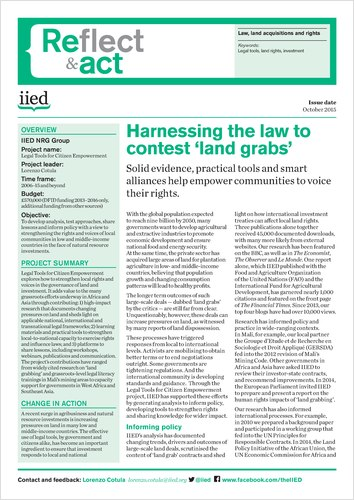 Harnessing the law to contest 'land grabs'