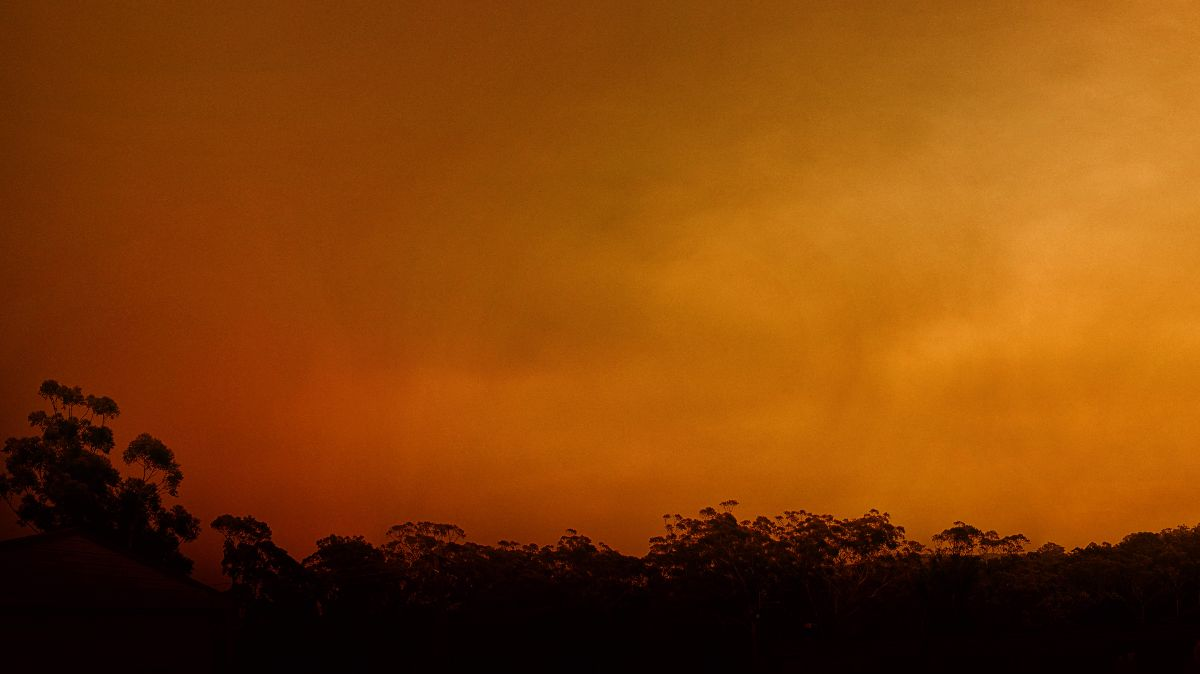 Huge bushfires darken Australia's skies. The country often sees wildfires, but climate change has disrupted weather patterns, creating catastrophic conditions (Rob Russell via Flickr, CC BY 2.0)