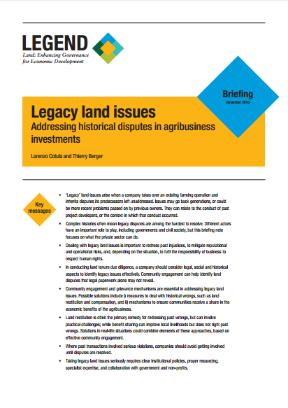 Legacy land issues: Addressing historical disputes in agribusiness investments