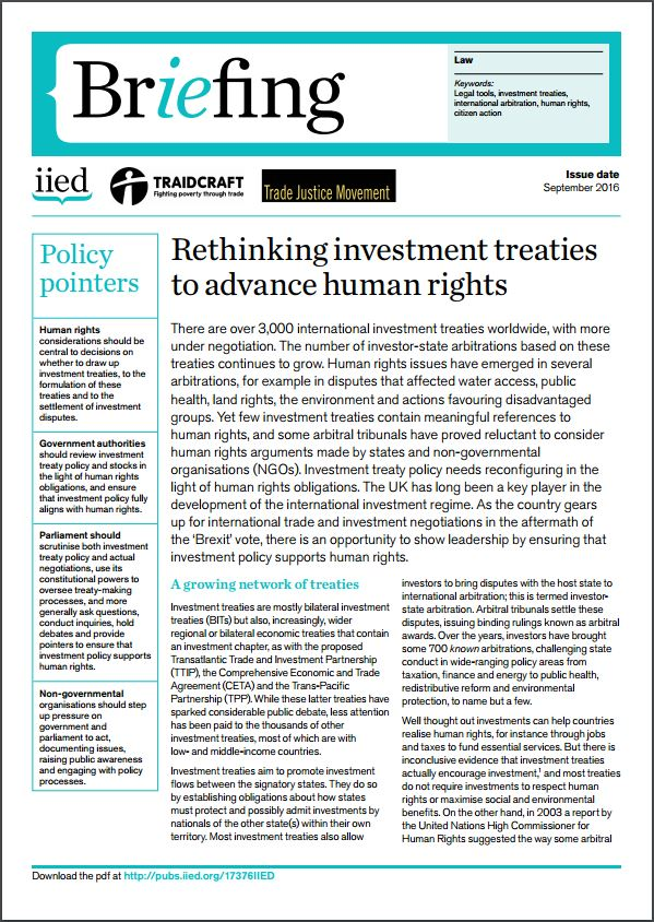 Rethinking investment treaties to advance human rights