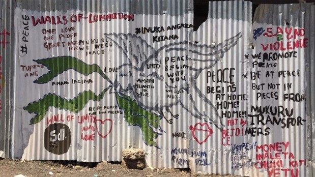 Peace wall painted by youth organisations, Mukuru