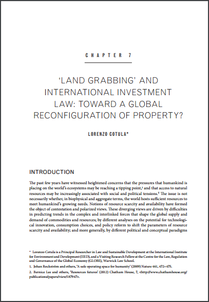 'Land grabbing' and international investment law: toward a global reconfiguration of property?