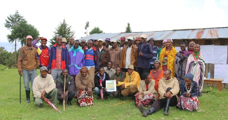 Meeting of the Ogiek community of Sasimwani to review their draft by-laws (Photo: Jaron Vogelsang/Namati)